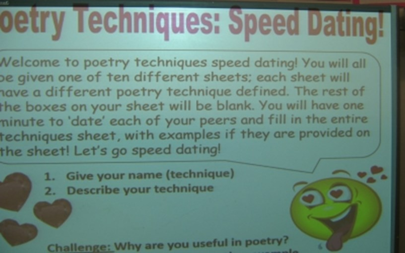 Poetry speed dating